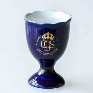 Birth of Princess Victoria 1977 Hackefors Cobalt Blue King Egg Cup | No. HBSA07 | DPH Trading