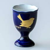 1989 Hackefors Cobalt Blue Egg Cup House Sparrow
