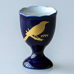 1991 Hackefors Cobalt Blue Egg Cup Eurasian Magpie | Year 1991 | No. HBSA1991 | DPH Trading