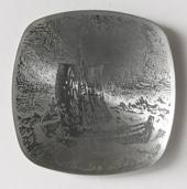 Helgi Joensen Pewter Christmas plate 1976 Fishing boat in Storm