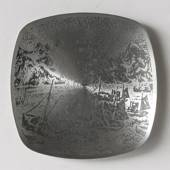Helgi Joensen Pewter Christmas plate 1978 Fishing fleet at Lofoten