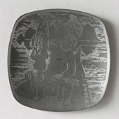 Helgi Joensen Pewter Christmas plate 1978 Juksafisher with Trænas in the ba...