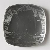 Helgi Joensen Pewter Christmas plate 1980 Three sailships