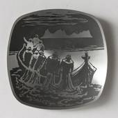 Helgi Joensen Pewter Christmas plate 1983 Getting the catch