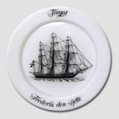 1971 Holmegaard Ship plate, the fregat Frederik