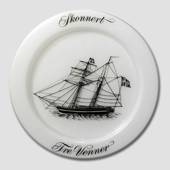 1972 Holmegaard Ship plate, the fregat Three Friends