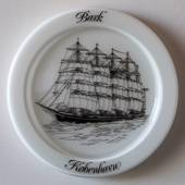 1980 Holmegaard ship plate, the training ship Copenhagen