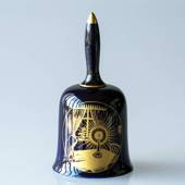 1974 Hackefors Christmas Bell, Candle Cobalt Blue with gold