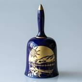 1976 Hackefors Christmas Bell Star Cobalt Blue with gold