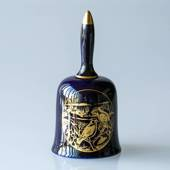 1978 Hackefors Christmas Bell, Bird Cobalt Blue with gold