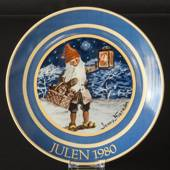 1980 Jenny Nystrom Christmas plate, pixie with lantern in colours