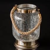Hurricane golden & crackled glass candleholder