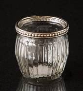 Tealight glass clear with metal ring