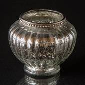 Antique silver glass for tealights with metal ring