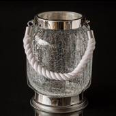 Hurricane candleholder in chrome & crackled glass