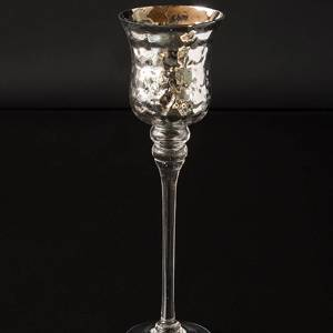 Large glass candleholder with antique silver decor