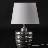 Grey lamp with elegant silver stribes and lampshade