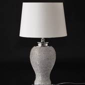 Table lamp w/small silver orbs and a round shade