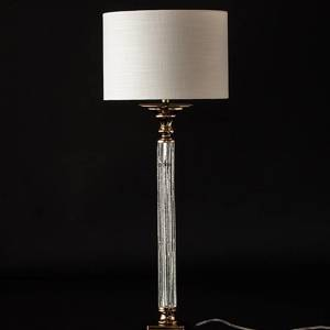 Golden lamp with crackeled glass and round lampshade | No. K1037 | Alt. 31354 | DPH Trading