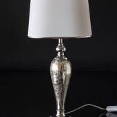 Silvered lamp and crackled glass with oval lampshade