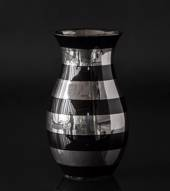 Black vase with horizontal silver stribes