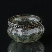 Tealight candleholder antique silver with metal ring