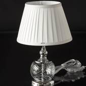 Table lamp in Crystal and Chrome with a round shade