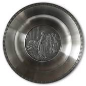 Karlshamn Biblical Motifs Pewter Plate 5 Raising of Jairus' Daughter ( Tali...
