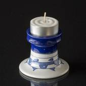 Wiinblad candlestick, small, hand painted, blue/white