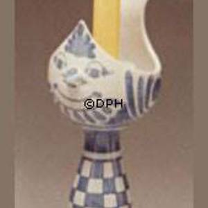 Wiinblad candlestick, bird, medium, hand painted, blue/white | No. L-86 | DPH Trading