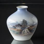 "Lyngby Vase with Landscape ""House"", No. 151-91"