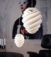 Le Klint 1312M Swirl 2 pendant made of white plastic, medium