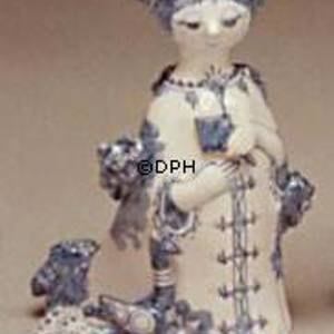 Wiinblad Figurine, hand painted, blue/white