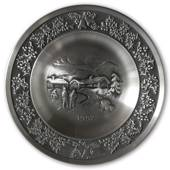 1992 Måstad Pewter Christmas plate, Snowy landscape