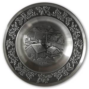 1996 Måstad Pewter Christmas plate, Fishing village | Year 1996 | No. MAX1996 | DPH Trading