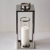 Tall lantern for Candles Silver finish
