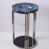 Round Table with Tabletop of Blue Agate