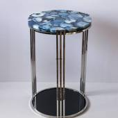 Round Table with Tabletop of Blue Agate, lille