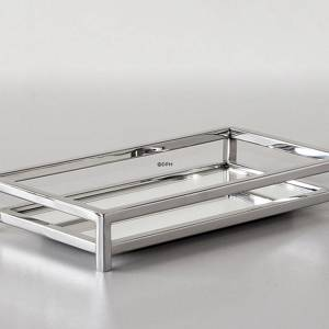 Rectangular Tray in Polished Steel with mirror | No. MR-19073 | DPH Trading
