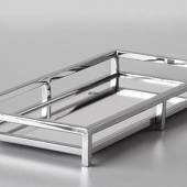 Large Rectangular Tray in Polished Steel with mirror