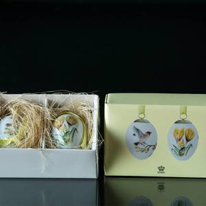 Easter egg with crocus and bohemian waxwing, set of two, Royal Copenhagen E...
