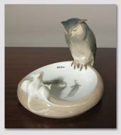 Dish with Owl and 3 white mice, Royal Copenhagen