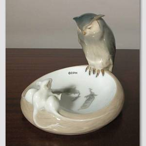 Dish with Owl and 3 white mice, Royal Copenhagen | No. R1050-610 | DPH Trading