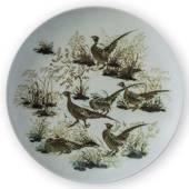 Faience bowl with pheasants by Nils Thorssen, Royal Copenhagen