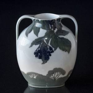 Art Nouveau vase with landscape and Berries, Royal Copenhagen