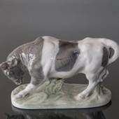 Bull reading for attack run, Royal Copenhagen figurine