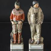 Greenlandic couple, woman and man, Royal Copenhagen overglaze figurine no. ...