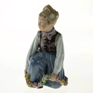 Amager boy, Royal Copenhagen overglaze figurine no. 12414