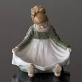 Amager Girl, sitting in regional costume, Royal Copenhagen figurine