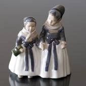 Two Amager Girls, out walking in regional costume Royal Copenhagen figurine...